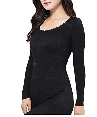VaeJY Womens Round Neck Print Warm Slim Fit Thermal Underwear Sets