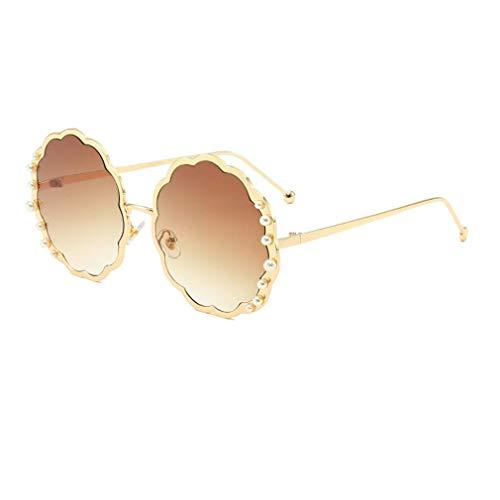 HQMGLASSES Round Sungbrillen für die Damenmode-Designerin Pearl Frame & Circle Tinted Gradient Lens Glasses UV400,05