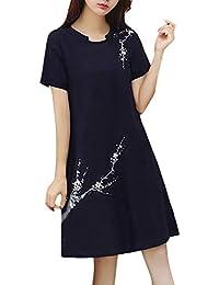 9c821c26d676 Firally Donne Vintage Stampa Floreale O-Collo Manica Corta Cotone Lino  Sciolto Casual Dress Vestito Mini Vestito da…