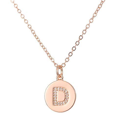 NSXLSCL Halsketten Für Frauen,Zirkon Englisch Schreiben Erste Anhänger Halsketten Rose Gold D Buchstaben Kette Collier Halskette Für Frauen Schmuck (Wie Schreiben Romantik)