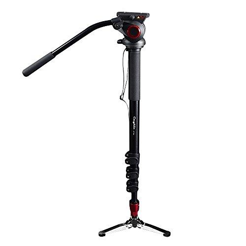 Monopié portátil de cabeza giratoria para videocámara/DSLR, soporte de trípode para vídeo profesional de 182cm de altura máxima, con 10kg de capacidad de carga máxima