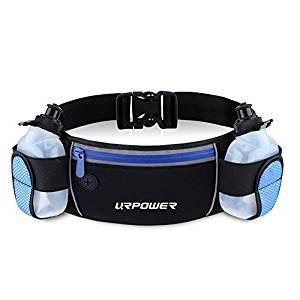 URPOWER Sport Trinkgürtel Verstellbar Reißverschlusstaschen Gürteltasche, für 6,1 Zoll Smartphones(Flaschen im Lieferumfang)