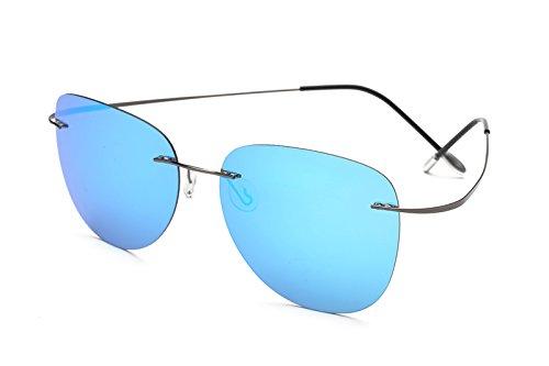 TL-Sunglasses 100% Titan Silhouette Sonnenbrillen Polaroid Polarized super Leichte randlose Männer Polaroid Sonnenbrille Brillen, Titan ZP 2117 C5