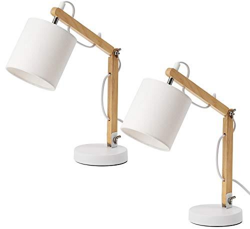 BRUBAKER - Lampe de bureau/de table/de chevet - Lot de 2 - Bras articulé réglable - Design moderne - Hauteur jusqu'à 52 cm - Bras en Bois - Abat-jour en Tissu/Blanc