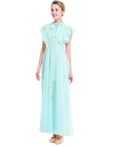 YueLian Sommer Lange Kleider Partykleider Abendkleider Kurzärmel in Zwei Farben, Eisblau,...