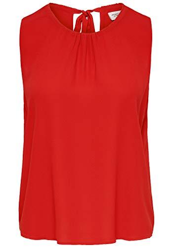 ONLY Leo Damen Top Blusenshirt Kurzarm-Bluse Mit Rundhalsausschnitt, Größe:36, Farbe:Goji Berry