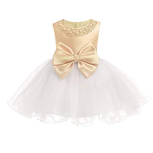 hen Hübsches Kleid - Spitze Weiche Elegante Ärmellose Baby Hochzeits Geburtstagsfeier Prinzessin Kleid, Gold+Beige, 6M ()