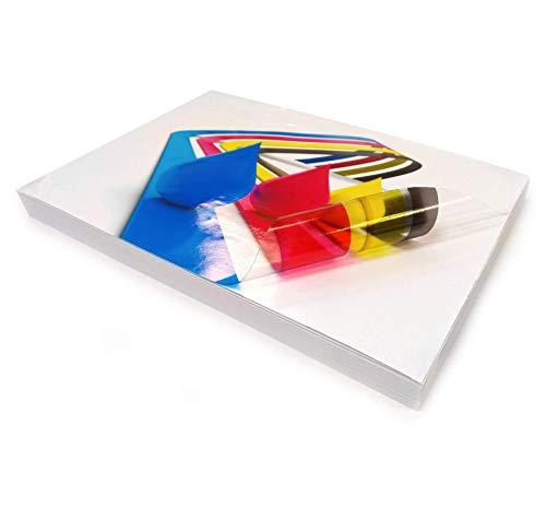 5 hojas A4 de vinilo transparente brillante autoadhesivo de calidad imprimible - haz tus propias pegatinas, etiquetas de productos, carteles y más