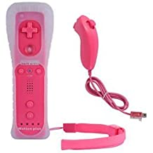 AMGGLOBAL? Built in Motion Plus Remote Controller Nunchuk Controller For Nintendo Wii Remote WII + FREE SILICONE COVER PINK BLACK BLUE WHIE RED DARK BLUE (HOT PINK) by AMG GLOBAL