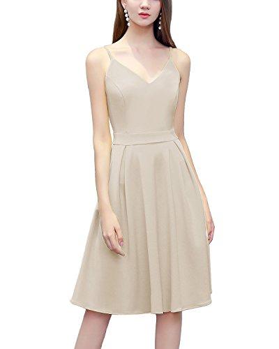 Bridesmay Damen V-Ausschnitt Spaghetti Sommerkleid Elegant Vintage Cocktailkleid Kleider Apricot XL