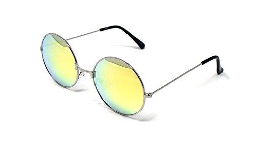 Ultra Silberner Rahmen mit Gold Linsen Erwachsene Retro Runde Sonnenbrillen Stil John Lennon Vintage Look Qualität UV400 Elton Brillen Männer Frauen Klassische Unisex-Brillen