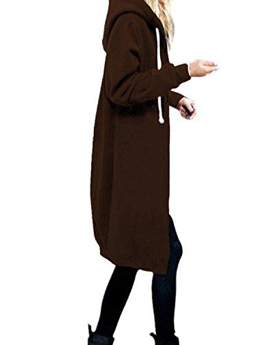 StyleDome Damen Hoodie Kapuzenpullover Pullover Jacke Sweatjacke warm gefüttert Strickjacke Zip Jacket Kaffee 42 (Sport Kurz 42 Coat)