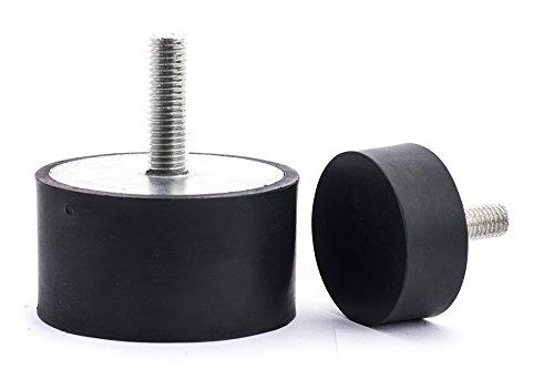 Preisvergleich Produktbild 10 Stck. Gummipuffer Gummimetallpuffer Typ D Ø 50 mm Höhe 30 mm einseitig Gewinde M10x20 mm mm andere Seite geschlossen Shorehärte 55° Metallteile verzinkt