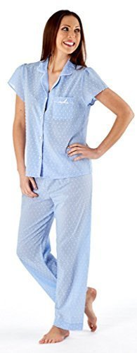 donna-100-cotone-leggero-pigiama-pigiama-estate-bianco-fiori-rosa-taglia-uk-10-12-14-16-18-20-22-24-