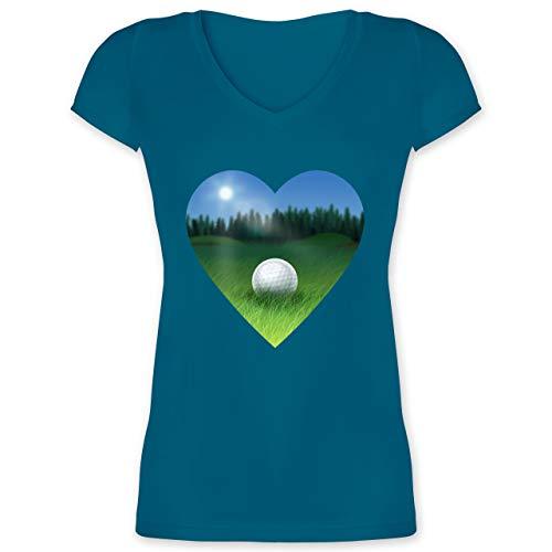 Golf - Golf Herz Wiese - 3XL - Türkis - XO1525 - Damen T-Shirt mit V-Ausschnitt