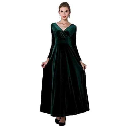 Damen V-Ausschnitt Langarm Tunika kleid schwarzlichtgruen
