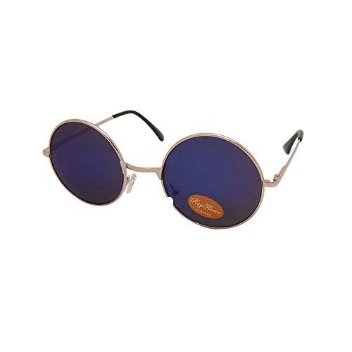 CHICNET Hochwertige Damen Herren Sonnenbrille Rundglas Hippie John-Lennon Brille 400UV rund, runde Gläser, langer Steg, aus Metall und Acryl, verspiegelt und getönt (blau gold)
