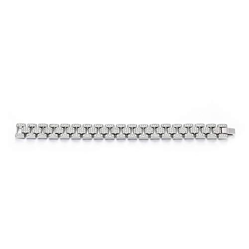 L&H Hip Hop Armband 18 Karat Vergoldung Voller Diamanten 15mm Uhr Mit Armband Tank Kette Sticky Drill Manschette Armband Personalisierte Schmuck Für Männer,Silver (15-dollar-uhr)