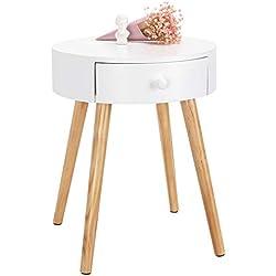 WOLTU TS51ws-1 Table de Chevet Table Basse avec tiroir de Rangement Plateau en MDF Pied en Bois, 38x38x48cm, Blanc