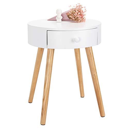 WOLTU Beistelltisch TS51ws-1 Nachttisch Nachtkommode Nachtschrank Sofatisch, mit Schublade, mit Beinen, Holz, MDF, Weiß, 38x38x48cm(BxTxH)