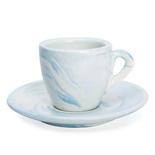 Hausmann & Söhne Espresso Tassen dickwandig | Set 2-TLG | Pastell Blaue Marmor Tasse mit Untersetzer | Porzellan | Tasse 80ml (100 ml randvoll) | Kaffee/Tee Tasse weiß groß | Geschenkidee