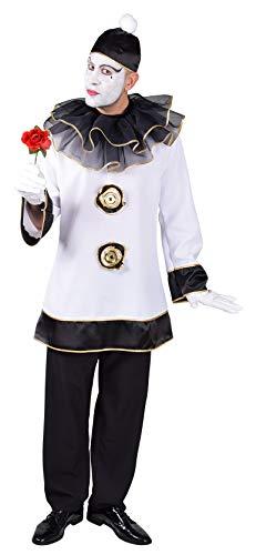 M218269-M weiß-schwarz Herren Pierrot Clown Kasper Kostüm Gr.M