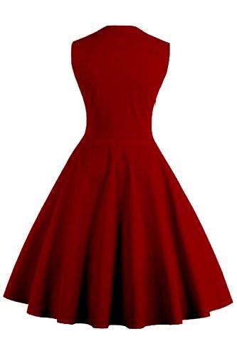 Damen kleider 50er jahre stil Vintage Polka Dots Knielang Wein Rot 4XL - 2