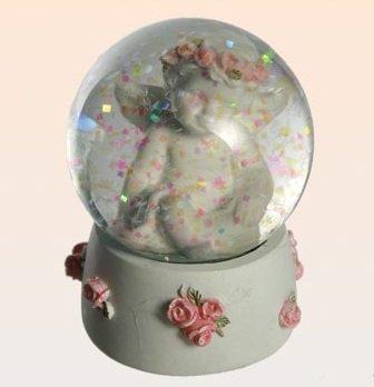AVENUELAFAYETTE Boule de neige Ange décor roses (M1)
