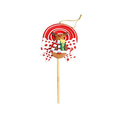 BESTOYARD 1 stück Weihnachten Candy Ornamente mit Rentier Lollipop Shaped Weihnachtsbaum Hängen Dekorationen Urlaub Party Supplies