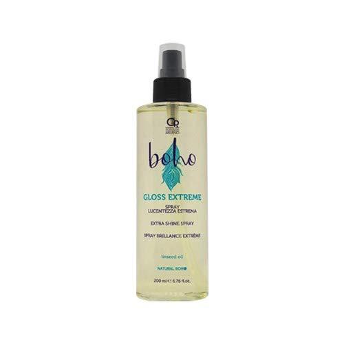 Boho - Gloss extrême - Spray Eclaircissant Produit Coiffant et Professionnel Anti-Frisottis pour une Brillance Extrême, à l'Huile de Lin - 200 ml