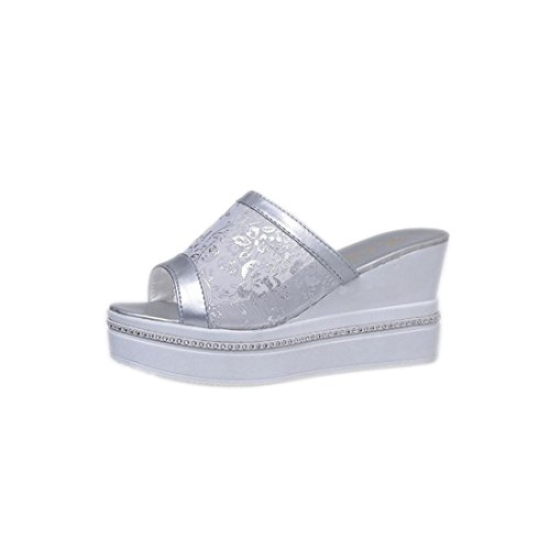 Malloom Sandalen, Frauen Damen Hohe starke Ferse Slides Mesh-Wedges Flip Flops (37, Weiß)
