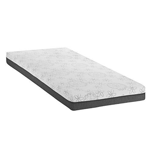 Matratze, HR Kaltschaum und Viscoelastisches Memory Foam Zwei Schichten Design für ultimativen Schlafkomfort Ideal für Nacken Steifigkeit, 90 cm Weit x 200 cm Lang, Grau Weiß ()