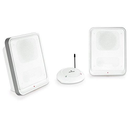 auna • Loft 30 • Funk-Lautsprecher • Wireless Speaker • 863 MHz-UHF-Signal • bis zu 100 Meter Übertragungsreichweite • zuschaltbarer Bass-Boost • 2-Wege-Lautsprecher • 2 Sender • Netz- und Batteriebetrieb • ausklappbare Standfüße • Wandmontagepunkte • weiß