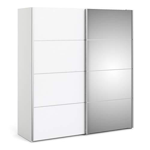 Irfu verona - armadio scorrevole, 180 cm, bianco con ante a specchio e 2 ripiani