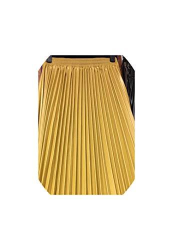 Abenddämmerung Fort Pu Akkordeon gefalteter Rock mit hoher Taille Lederrock verfügbar,Gelb,One Size -