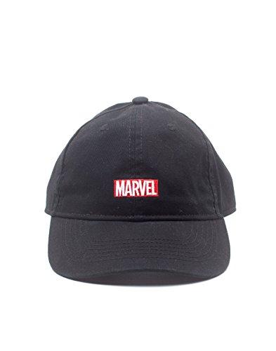 ll Comics Embroidered Logo Stone Washed Denim Dad Cap, Black (BA781234MVL), Schwarz (Schwarz Schwarz), One size (Marvel Hats)
