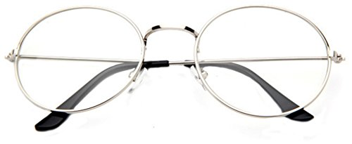La vogue Brille Nerdbrille Retro Rund Unisex Silber Linsebreite52mm