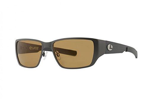 Lenz Optics Ponoi Titan / Carbon Sunglass - Polbrille, Polarisationsbrille, Polarized Sunglasses, Angelbrille, Anglerbrille, Brillenglas: 58x37mm, Brillensteg 17mm, Bügellänge 125mm, Farbe (Rahmen/Gläser):Rahmen dark grey / Gläser brown