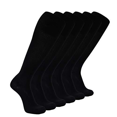 Solid Color Knie-socken (FOOTPLUS Damen Fußball-Socken, Knie High Solid Fußballsocken groß 01# 6 Pairs- Schwarz)