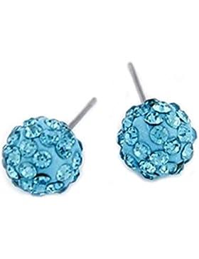 Shamballa Kristall Ohrstecker / Strassohrstecker Kugel Ball rund in blau türkis hellblau 10mm von DesiDo®