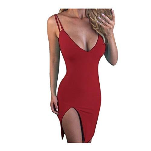 iHENGH Damen Sommer Rock Lässig Mode Kleider Bequem Frauen Röcke reizvolles tiefes V Ausschnitt ärmelloses dünnes Sitz seitlicher Schlitz Bodycon Abend Partykleid(Rot, S)