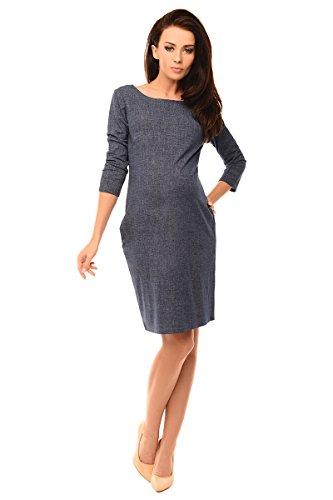 Purpless Maternity Schwangerschaft Denim-Look Kleid Tunika mit Taschen 6100 (42, Jeans) (Crew-jersey-jeans)