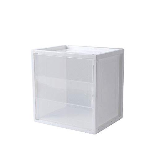 BLESS Nordic Aufbewahrungsbox Aufbewahrungsbox Kunststoff Transparent Kombination Bücherregal Einfache Verarbeitung Lagerung Falttür Lagerschrank,White-L