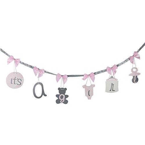 SUNBEAUTY It's a Girl Baby Shower Banderole Fille Decoration Guirlande Rose