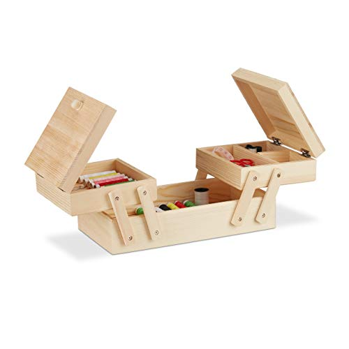 Relaxdays, Natur Nähkästchen Holz, 5 Fächer, ausklappbar, ohne Inhalt, Griffe, natürliche Optik, HBT: 12 x 26 x 15,5 cm, Standard