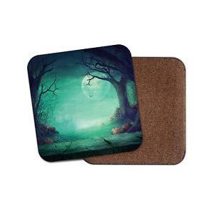 Worlddream Gruseliger Halloween-Wald-Untersetzer - Kürbisbaum, Mond, gruselig, cooles Geschenk