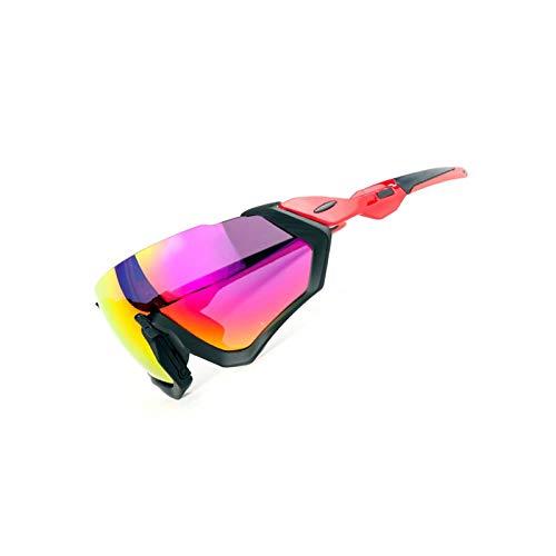 Amody Brille Männer Frauen Reitbrille Mountainbike Polarisierte Sonnenbrille Fahrrad Brille Schwarz Rot