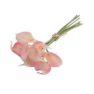 10 piezas Lirio de cala flores artificiales para decoración de boda fiesta hogar jardín decoración simulación flor Pink