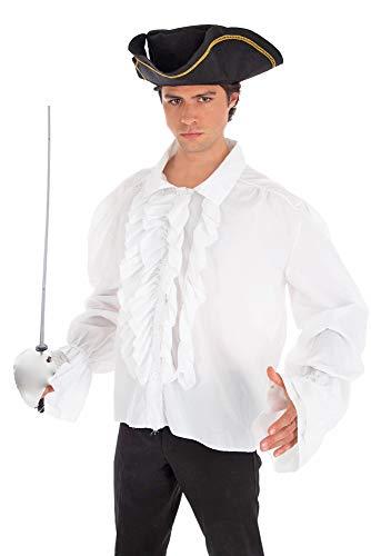 Kostüm Pirat Männer Vampir - Piraten Rüschenhemd Weiß Gr. 46 48 - Hemd zum Kostüm Mittelalter Gothic Barock Vampir