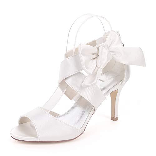 L@tc tacchi alti da donna con tacco a punta in punta di raso scarpe da cerimonia corte per abiti da sposa/tacchi alti 8,5 cm, white, 37